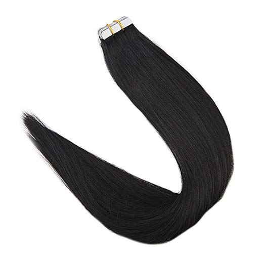 Full Shine Tape In Human Hair Extensions Pure Color #1 Jet Black 50g 20Pcs 100% Human Hair Extensions Tape On Machine Made Remy
