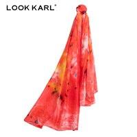 BUSCAR KARL Atar-teñido 100% de la Bufanda de Seda de Alta Calidad Mujeres Flor Acuarela Femenina Larga Estola Del Mantón de Playa encubrimientos rojo Naranja