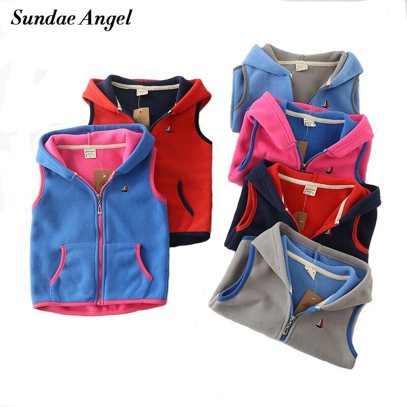 Sundae Angel Children Vest For Girl Boys Waistcoat Hooded Warm Polar fleece Sleeveless Outerwear Kids Baby Vests Coat For 18M-7Y 1