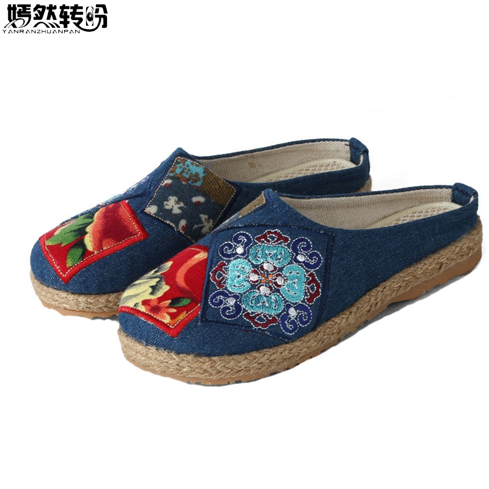 New Arrive Chinese Women Slippers Casual Embroidery Linen Cotton Handmade Ladies Canvas Walk Hemp Soft Shoes Zapato Mujer veowalk extreme low top women casual linen cotton loafers handmade vintage ladies canvas walking hemp flat shoes zapato mujer