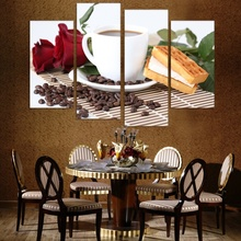 HD picture  print 4 panel canvas painting oil home decoration coffee and rose cake