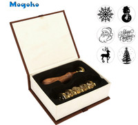 Mogoko 2017 New 1 Set Christmas Xmas Wax Seal Stamp Set Brass Head Wooden Handle Blessing Letter Decor Gift 6 Different pattern