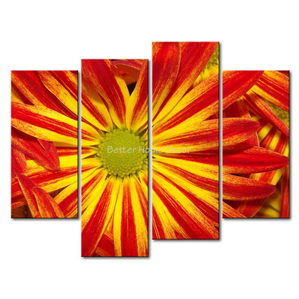 3 Piece Yellow Orange Wall Art Painting Red And Yellow Daisy Picture ...