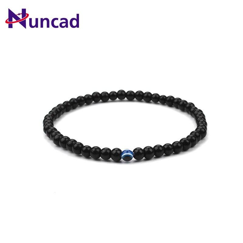 2017 New Unisex Natural Stone Blue Evil Eye Men Bracelet Hand Work Black Onyx Volcano Matte Beaded Bracelets Pulseiras