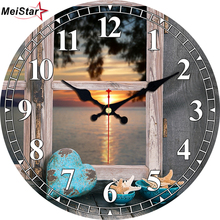 hot deal buy meistar modern wooden wall clocks beautiful scenery  design silent living office room decoration home decor watches wall clocks