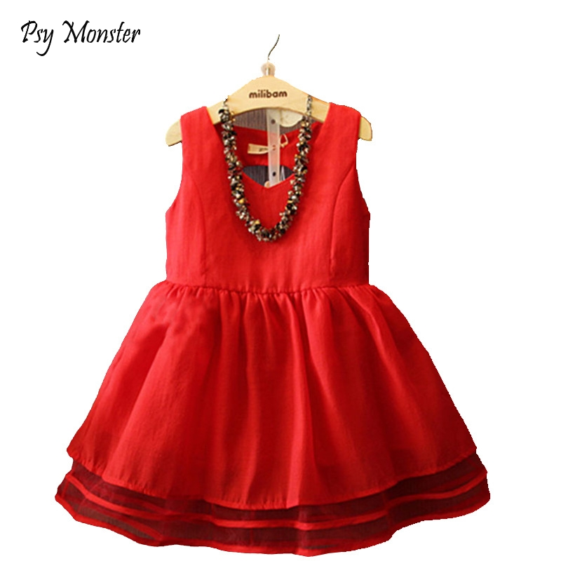 School Girls Dress Summer Wedding Birthday Party Gift Dress Red Princess Party Dresses Girl Clothes Kids Vestido Infantil <font><b>C115</b></font> image