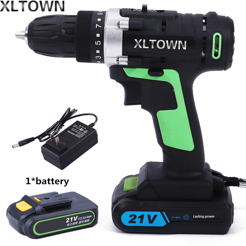XLTOWN 21v cordless electric drill rechargeable lithium battery electric screwdriver household power tools Household tools xltown 21v electric screwdriver multifunction rechargeable lithium drill electric household cordless electric drill power tools