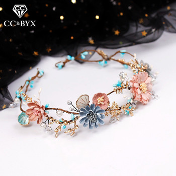 CC Wedding Jewelry Hairbands Crown Forest Style Seaside Party Engagement Hair Accessories For Bridal Flower Beads Yarn Gift 9870