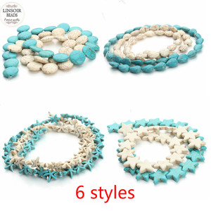 1Strand Smooth Blue Turquoises Stone Natural White Howlite Stone Turquoises Beads For Bracelet Necklace DIY Jewelry Loose Beads(China)