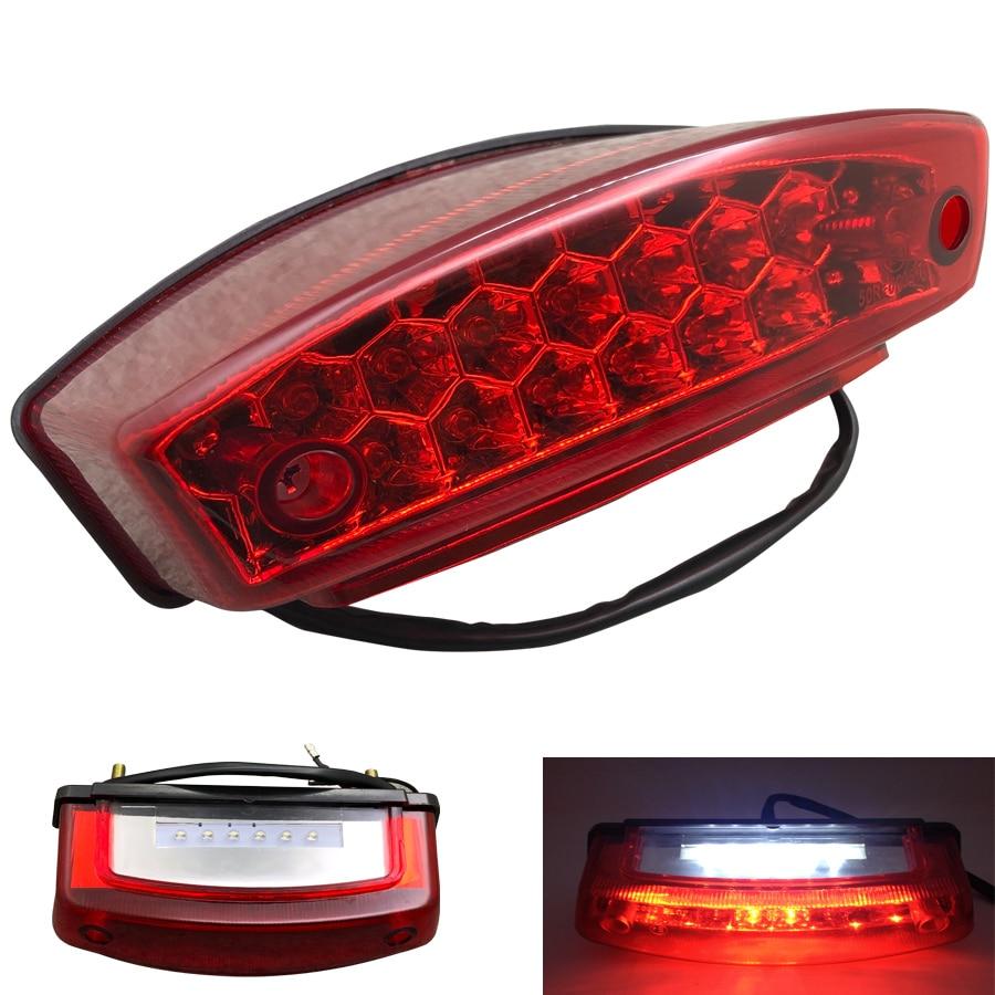 12V Motorcycle Tail Light Universal Motorbike Accessories LED Rear Brake Light Red Lens Lamp For Honda Suzuki ATV Dirt Bike Honda Grom