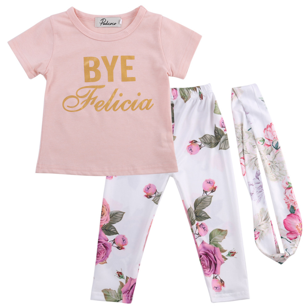 a0ab9f941 2017 Pink Flower Newborn Baby Girl Outfit Clothes Romper T shirt+ ...