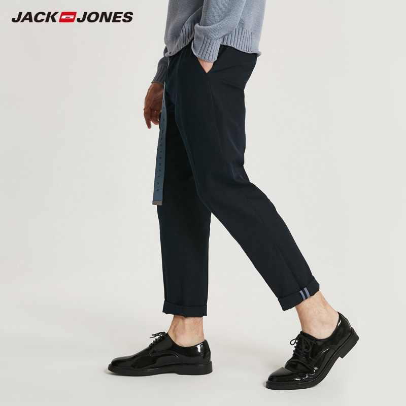 JackJones ผู้ชายผ้าฝ้ายผ้าลินินหลวม fit กางเกงบุรุษ 218314572