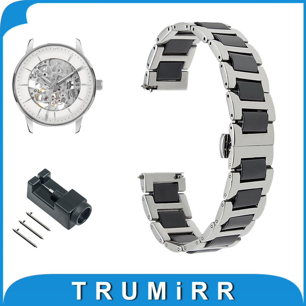 Ceramic + Stainless Steel Watch Band 12 14 16 18 20 22mm for Jacques Lemans Butterfly Buckle Strap Quick Release Wrist Bracelet ceramic stainless steel watch band 14 16 18 20 22mm for orient butterfly buckle strap quick release wrist belt bracelet tool
