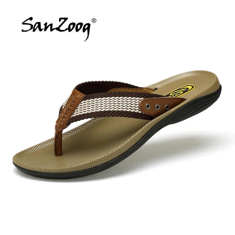 a73cbc1e0206 2019 High Quality Handmade Men Slippers Genuine Leather Mens Flip Flops  Summer Leather Slides Men Comfortable