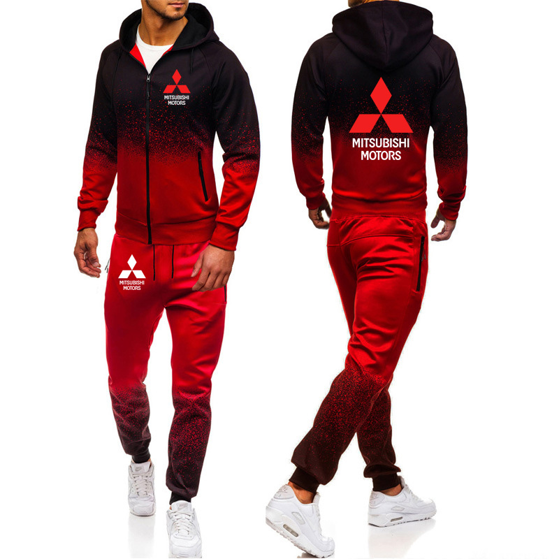 Hoodies Men Mitsubishi Car Logo Print Casual Harajuku Gradient Color Hooded Fleece Zipper Jacket Sweatshirt Sweatpants Suit 2pcs