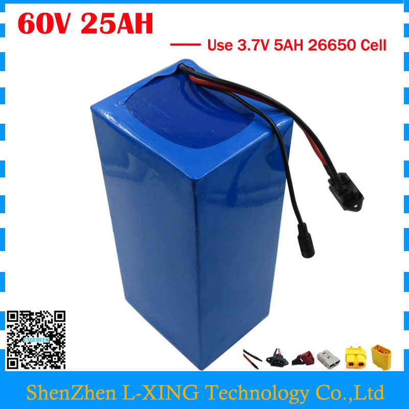 EU US no tax 1000W 60V 25AH Lithium battery 60V 25AH ebike Battery 60V e-scooter battery with PVC Case use 3.7V 5AH 26650 cell