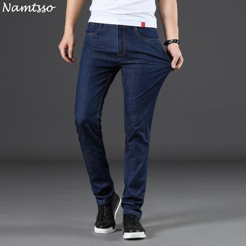 Для мужчин s джинсы новая мода Для мужчин повседневные джинсы Узкие прямые высокая эластичность ноги джинсы свободная талия длинные брюки Л... ...