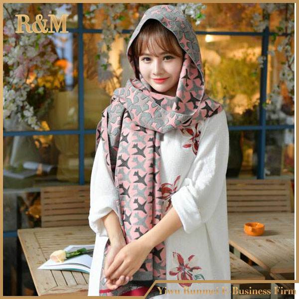[RUNMEIFA] double side scraf with mini airplane parttern and flowers oversized shawl perfect for autum winter use warm blanket