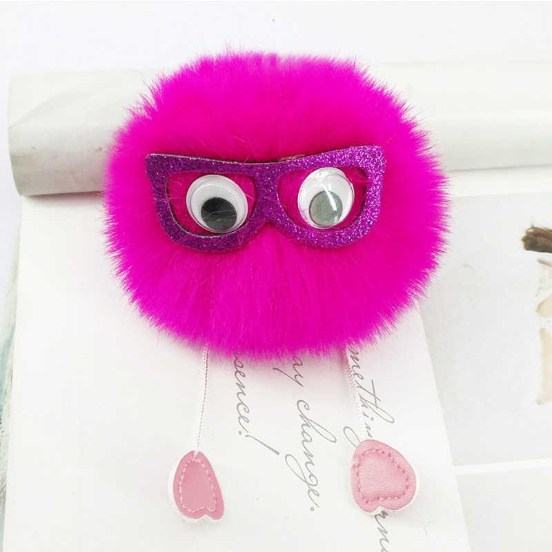 Bonito pokemon óculos chaveiros grandes olhos animal artesanal inchado bola chaveiros jóias encantos carteiras pingente decoração crianças brinquedos