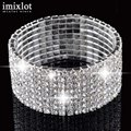 5/8 Rows Vintage Luxury Exquisite Rhinestone Shining Silver Elastic Bracelet Woman Jewelry 2017 New Fashion Crystal Bracelets