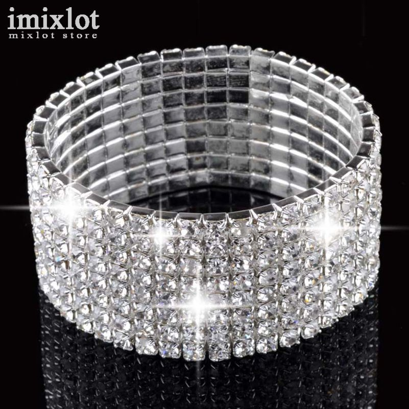 5/8 Rows Vintage Luxury Exquisite Rhinestone Shining Silver s