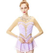 Lilac Colour Crystal Drill Wide Collar And Long Sleeve Figure Skating Dress Performance Skirt