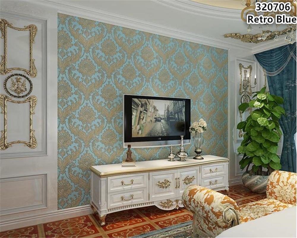 US $30.32 39% OFF|Beibehang Europäischen wand papier TV hintergrund vlies  stoff 3d tapete schlafzimmer dreidimensionale relief große blume typ tapety  ...