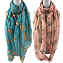 Voile Scarf Shawl Animal-Printed Vintage Women Cotton Summer Wrap Soft Winter Long Fox