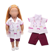18 inch Girls doll clothes White nurse wears doctor operating gown American newborn dress Baby toys fit 43 cm baby dolls c266