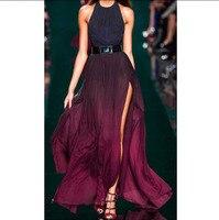 Женское платье без рукавов с бретелькой через шею винтажное фиолетовое богемное платье
