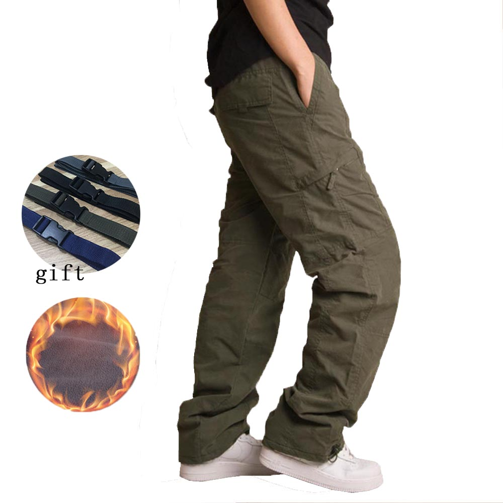 2019 Men's Cargo Pants Soft Shell Tactical Military Thicken Fleece Pants Men Casual Sport Pants Warm Hiking Trousers Size M-3XL
