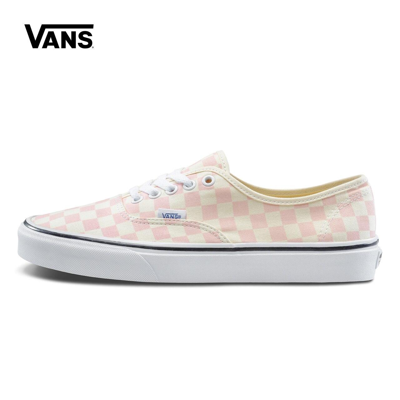 Pink Grid Vans Shoes Women Authentic Low-top Skateboarding Shoes Sneakers Sport Outdoor Classic Canvas Sneaker VN0A38EMQ8L unisex vans shoes white letter printed low top skateboarding shoes sneakers sport outdoor canvas vans sneaker vn0a3qxzt1z