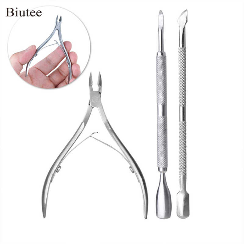 Biutee 3 Pcs Rvs Cuticle Nipper Lepel Cuticle Pusher Remover Cutter Clipper Nails Gereedschap