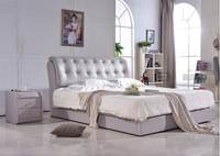 High quality factory price royal large king size leather soft bed bedroom wedding furniture soft bed 2655