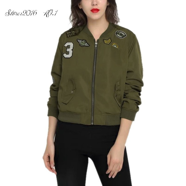Novos Casacos Exército Verde Mulheres Casaco Bomber Jackets Feminino Macacão de Vôo Jaqueta de Impressão Ocasional Mulheres Casacos Jaqueta de Patches Bordados
