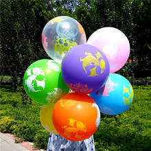 50PCS 12inch dinosaur Transparent balloon Printed Latex Balloons Kids Birthday / Party Wedding globos Free hipping