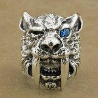 Стерлингового серебра 925 Синий CZ глаз саблезуб кольцо мужские Байкер Тигр кольцо TA16A 7 ~ 15