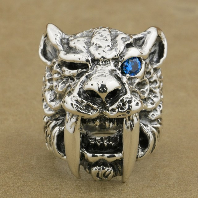 lion rings mens teeth listing gold il head roaring tiger ring