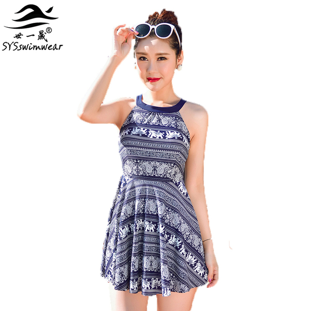 5a2a6570f77b6 High quality Retro Elephant Print Top Neck Women One Pieces Swimwear Floral  Push Up Slender Lady