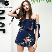 3f3069d6dba4 Off Shoulder Bow Boho Style Women Playsuit Navy Blue Floral Print Sexy  Summer Beach Short Ruffles Girls Rompers Overalls