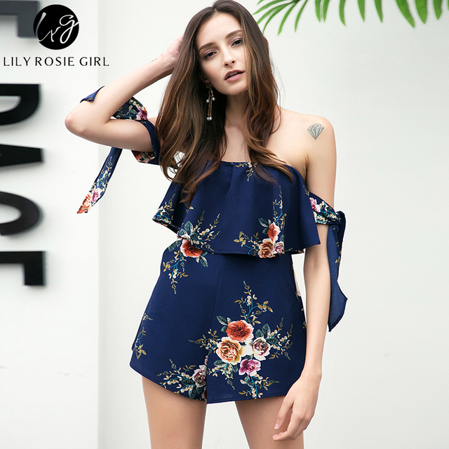 8a66eb3526a3 Off Shoulder Bow Boho Style Women Playsuit Navy Blue Floral Print Sexy  Summer Beach Short Ruffles