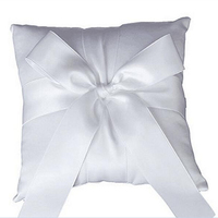 1 pc Elegante Do Vintage Branco Grande Bowknot Decor Pillow Anel de Casamento com Lace Flower Decor Nupcial Mariage Decoração 20*20 cm