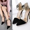 Nova primavera sapatos mulheres sexy bombas dos saltos altos sapatos de senhora da moda preto do dedo do pé apontado Sandálias de salto alto fino feminino sapato com alças