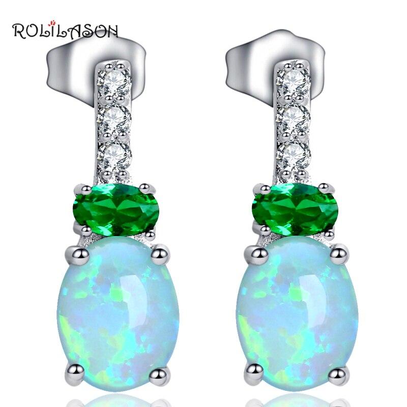 ROLILASON Speciální desgin dárek Zelený oheň Opál Stříbrný náušnice Módní Opálové šperky pro ženy Party OE671