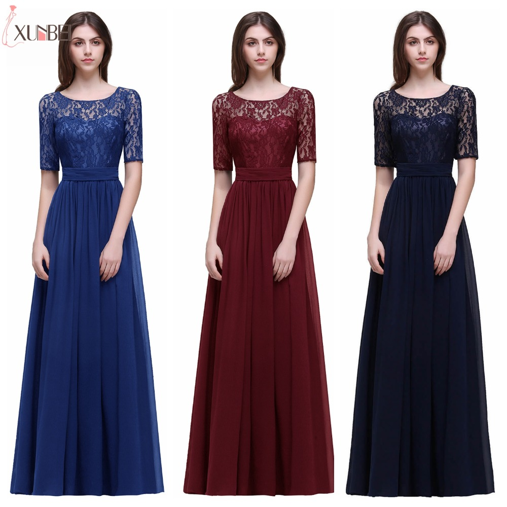 Vestido Longo Elegant Half Sleeves Burgundy A Line Lace Bridesmaid Dresses Long Chiffon Prom Dresses Formal Party Gowns