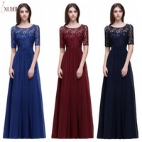 Vestido longo Elegant Half Sleeves Burgundy A Line Lace Bridesmaid Dresses Long 2019 Chiffon Prom Dresses Formal Party Gowns