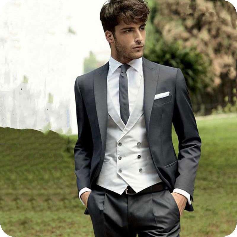 Italian Grey Men Suits For Wedding Classic Groom Tuxedo Silver Double Breasted Vest 3Piece Custom Made Man Blazer Jacket Ternos