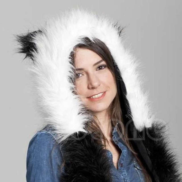 New Fashion Animal Warm Winter Faux Fur Hat Fluffy Plush Cap Hood Scarf Shawl Glove Dint