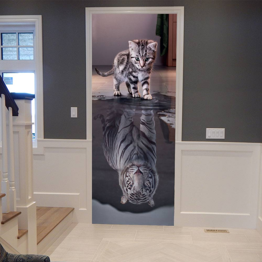 3D Door Stickers Lovely Cat Reflection Tiger Poster Wall Decal Door Mural Art Bedroom Door Waterproof PVC Sticker DIY HomeDecor
