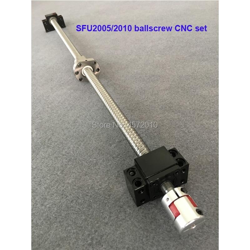 SFU2005 SFU2010 Ballscrew Set : 20MM Ball Screw 1100 1200 1500 Mm End Machined + Ball Nut + Support Cnc Parts